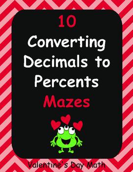 Valentine's Day Math: Converting Decimals to Percents Maze
