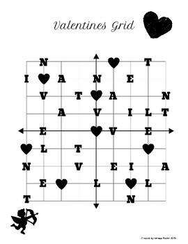 Valentine's Day Math: 4 Quadrants Coordinate Grid Game