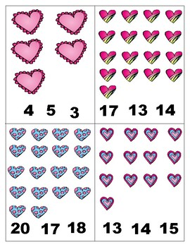 Valentine's Day  Math 1-20 : Count and Clip Cards