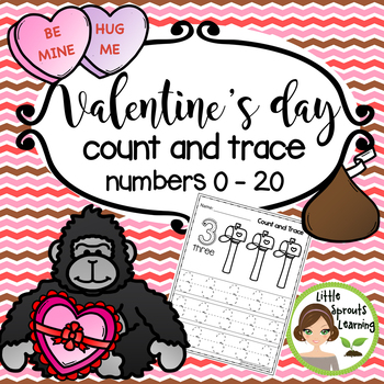 Valentine's Day Math Count and Trace 1 - 20