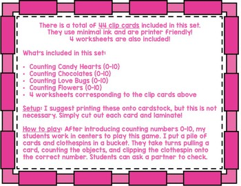 Valentine's Day Math Counting 0-10 Clip Cards LOW PREP