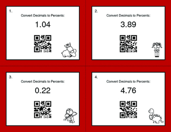 Valentine's Day Math: Decimals to Percents QR Code Task Cards
