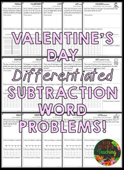 Valentine's Day Math (Differentiated Addition & Subtraction Word Problems)