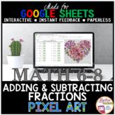 Valentine's Day Math Digital Pixel Art Adding and Subtract