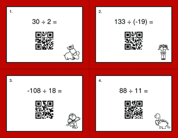 Valentine's Day Math: Dividing Integers QR Code Task Cards