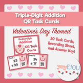 Valentine's Day Math - Double-Digit Addition QR Task Cards