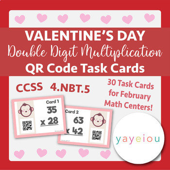 Valentine's Day Math - Double-Digit Multiplication QR Task Cards
