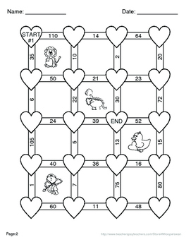 Valentine's Day Math: Equivalent Fractions Maze