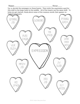 Valentine's Day Math Expressions Activity