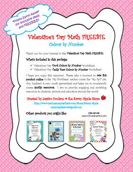 Valentine's Day Math FREEBIE!! - Colour by Number