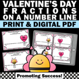 Valentines Day Math Activities Fractions on a Number Line Task Cards