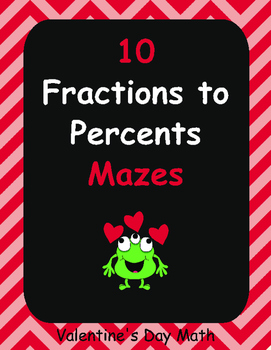 Valentine's Day Math: Fractions to Percents Maze