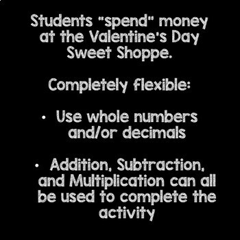 Valentine's Day Math Fun Activity {Money, Addition, Subtraction, Multiplication}