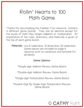 Valentine's Day Math Game, 100th Day of School, Addition, Multiplication Facts