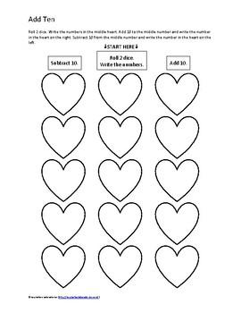 Valentine's Day Math Game: Add Ten