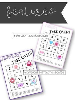 Valentine's Day Math Games - Addition and Subtraction TAKE OVER! - EDITABLE