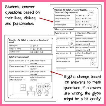 Valentine's Day Math Goofy Glyph (8th Grade Common Core)