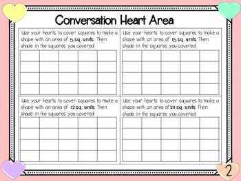 Valentine's Day Math - Conversation Heart Graphing, Area, Mult., Add. & Sub.