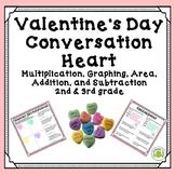 Valentine's Day Math - Conversation Heart Graphing, Area, Mult., Add. & Sub.