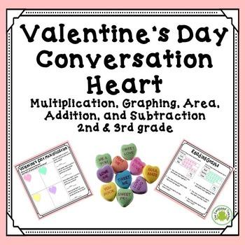 Valentine's Day Math - Conversation Heart Graphing, Area,