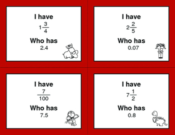 Valentine's Day Math: I Have, Who Has - Decimals to Fractions