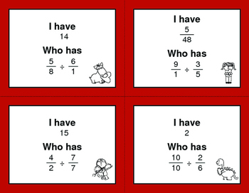 Valentine's Day Math: I Have, Who Has - Dividing Fractions