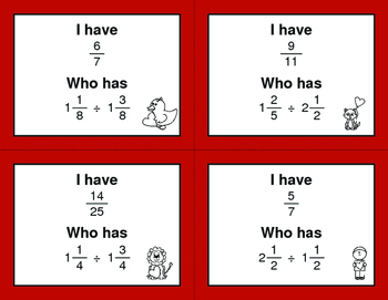 Valentine's Day Math: I Have, Who Has - Dividing Mixed Fractions