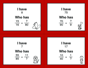Valentine's Day Math: I Have, Who Has - Equivalent Fractions