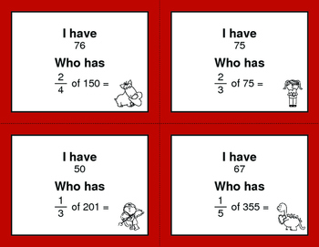 Valentine's Day Math: I Have, Who Has - Fractions of a Set