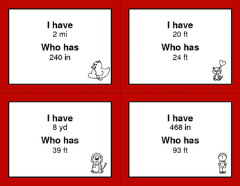 Valentine's Day Math: I Have, Who Has - Length Conversions U.S. Customary Unit
