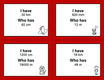 Valentine's Day Math: I Have, Who Has - Metric Length Conversions