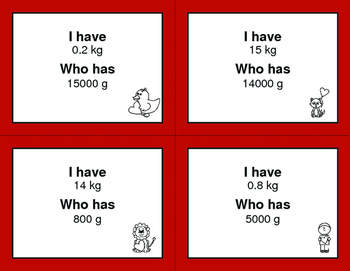 Valentine's Day Math: I Have, Who Has - Metric Weight Conversions