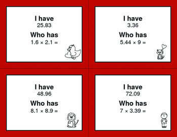 Valentine's Day Math: I Have, Who Has - Multiplying Decimals
