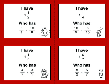 Valentine's Day Math: I Have, Who Has - Multiplying Fractions