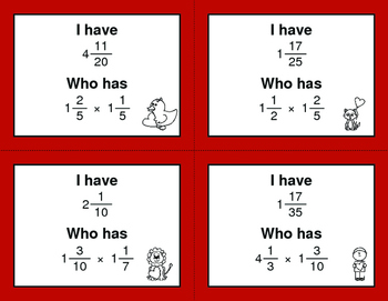 Valentine's Day Math: I Have, Who Has - Multiplying Mixed Fractions