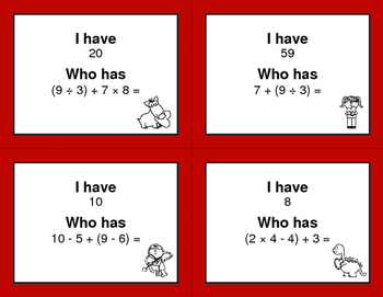 Valentine's Day Math: I Have, Who Has - Order of Operations
