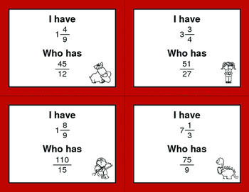 Valentine's Day Math: I Have, Who Has - Simplifying An Improper Fractions