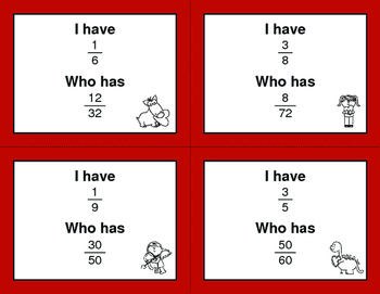 Valentine's Day Math: I Have, Who Has - Simplifying Proper Fractions