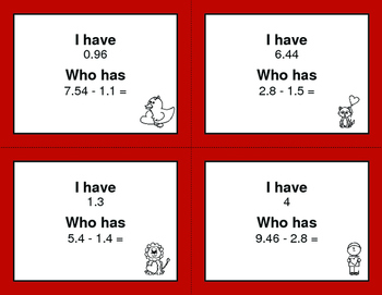 Valentine's Day Math: I Have, Who Has - Subtracting Decimals