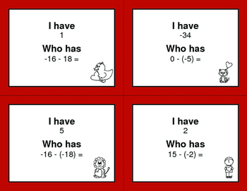 Valentine's Day Math: I Have, Who Has - Subtracting Integers
