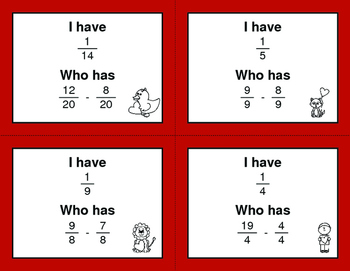 Valentine's Day Math: I Have, Who Has - Subtracting Like Fractions