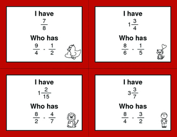 Valentine's Day Math: I Have, Who Has - Subtracting Unlike Fractions