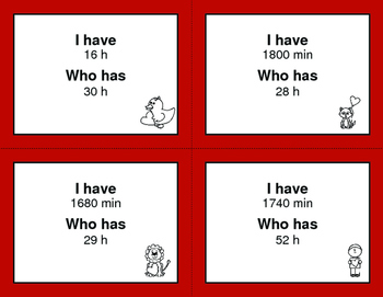 Valentine's Day Math: I Have, Who Has - Time Conversion: Days & Hours