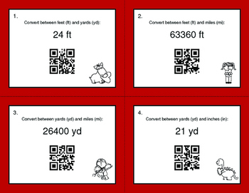 Valentine's Day Math: Length Conversions U.S. Customary Unit QR Code Task Cards
