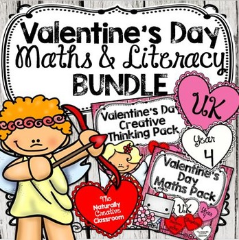 Valentine's Day Math & Literacy BUNDLE for Year 4-UK