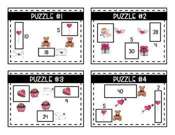 Valentine's Day Math Logic Puzzles- Area, Perimeter and Multiplication