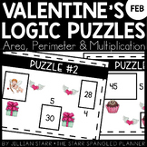 Valentine's Day Math Logic Puzzles- Area, Perimeter and Mu