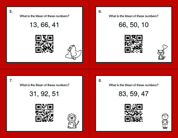 Valentine's Day Math: Mean QR Code Task Cards