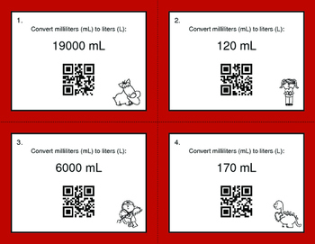 Valentine's Day Math: Metric Capacity Conversions QR Code Task Cards