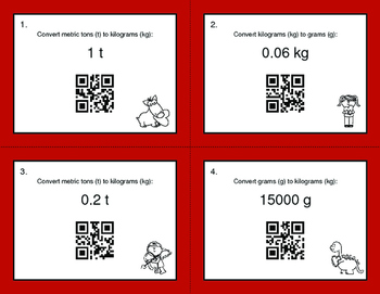 Valentine's Day Math: Metric Weight Conversions QR Code Task Cards